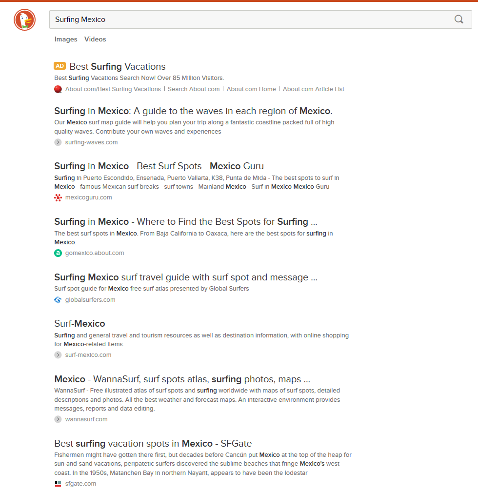 duckduckgo embedded image and video results