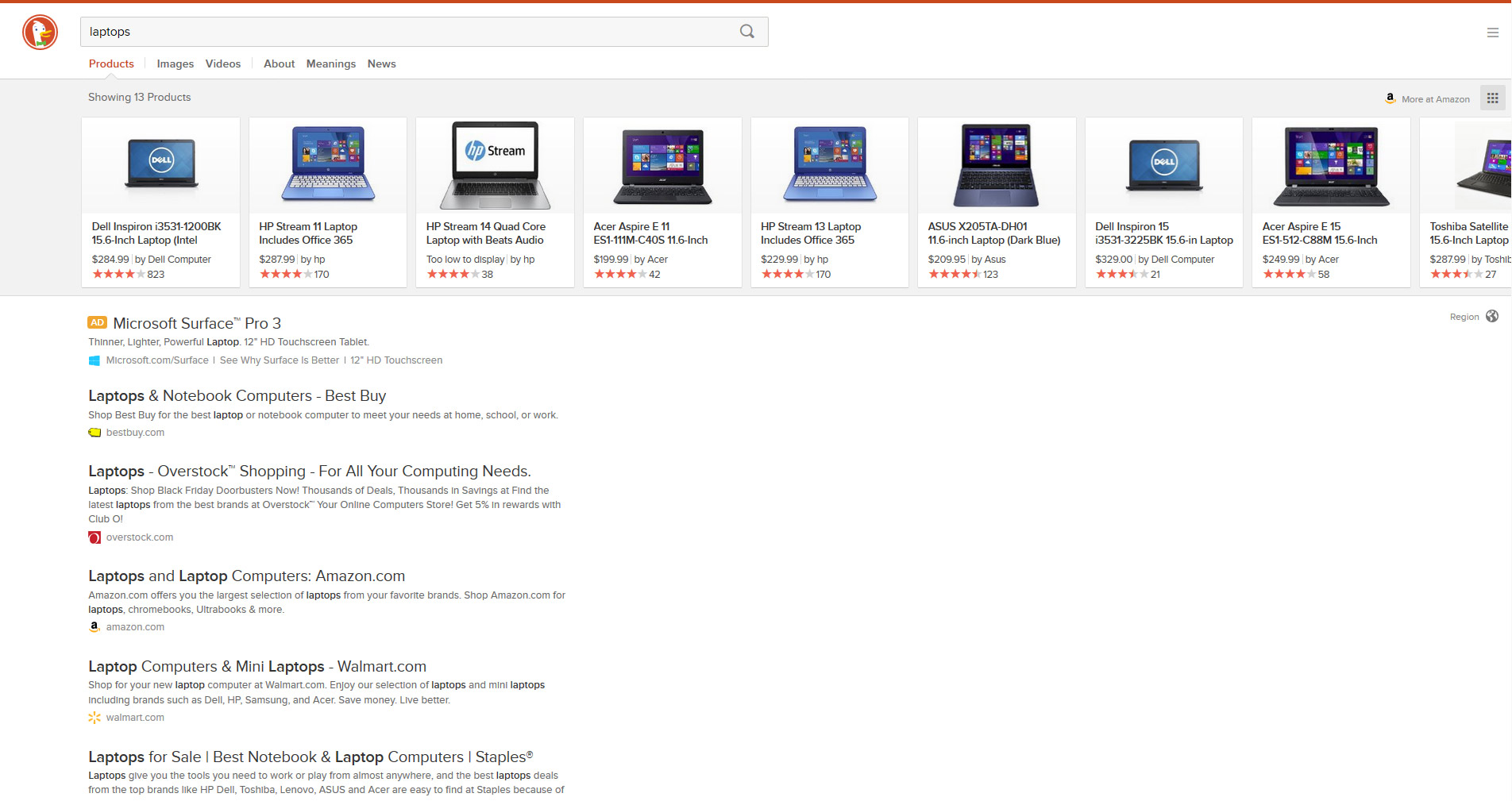 duckduckgo search result for laptop