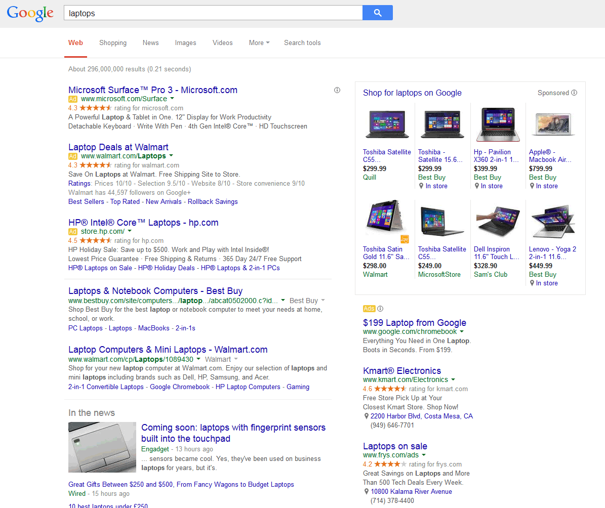 Google search results for laptops